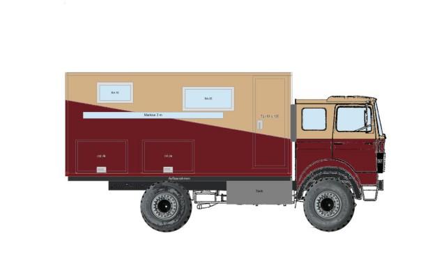 Die endgültige Skizze für unseren Magirus-Deutz 90-16 mit Wohnmobil Selbstausbau